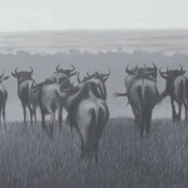 Oil on Canvas For Sale_Wildebeest-Silhouette