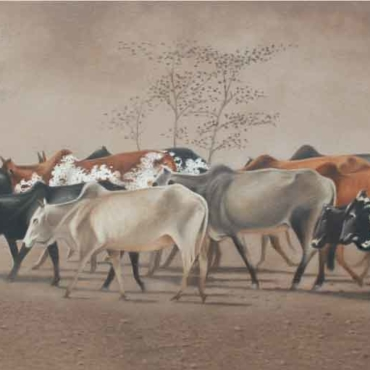 Oil on Canvas For Sale_Cattle-in-Line