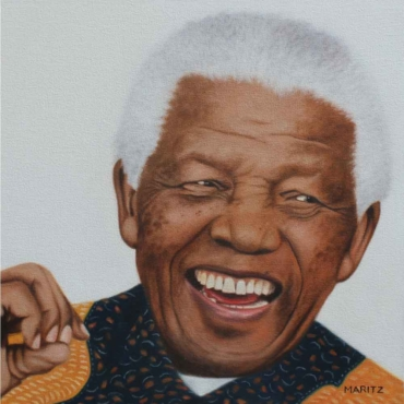 Oil on Canvas For Sale_Laughing-Mandela