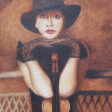 Oil on Canvas For Sale_The-Violin-Lady