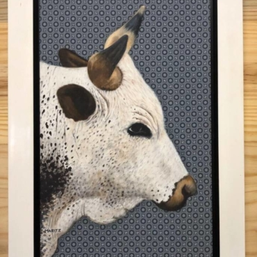 Oil on Shweshwe For Sale_Nguni on Shweshwe 157 Framed