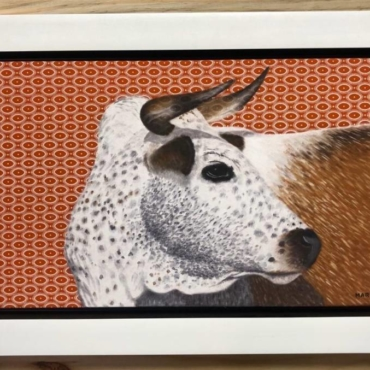 Oil on Shweshwe For Sale_Nguni on Shweshwe 201 Framed