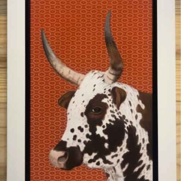 Oil on Shweshwe For Sale_Nguni-on-Shweshwe-207-Framed