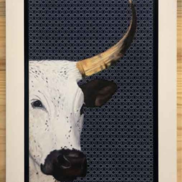 Oil on Shweshwe For Sale_Nguni-on-Shweshwe-208-Framed