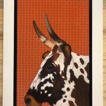 Oil on Shweshwe For Sale_Nguni-on-Shweshwe-210-Framed
