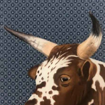 Oil on Shweshwe For Sale_Nguni-on-Shweshwe-212