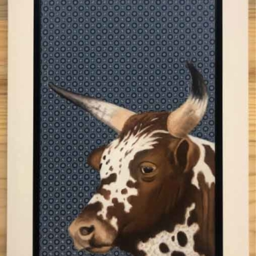Oil on Shweshwe For Sale_Nguni-on-Shweshwe-212-Framed