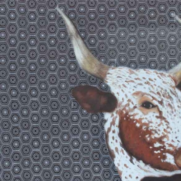 Oil on Shweshwe For Sale_Nguni-on-Shweshwe-36