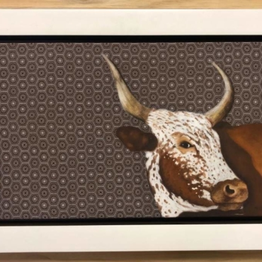 Oil on Shweshwe For Sale_Nguni on Shweshwe 36 Framed