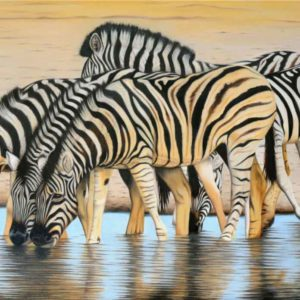 Commissioned Artwork_Zebras-drinking