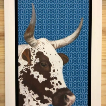 Nguni on Shweshwe 218 Framed