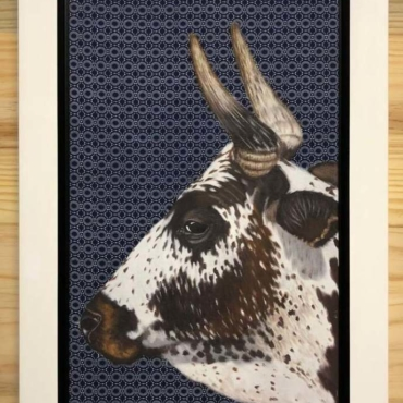 Nguni on Shweshwe 220 Framed