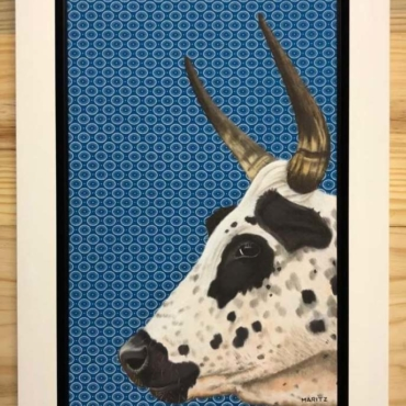 Nguni on Shweshwe 221 Framed