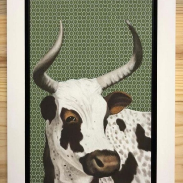 Nguni on Shweshwe 222 Framed