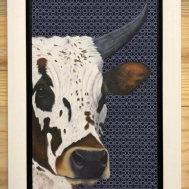 Nguni on Shweshwe 223 Framed