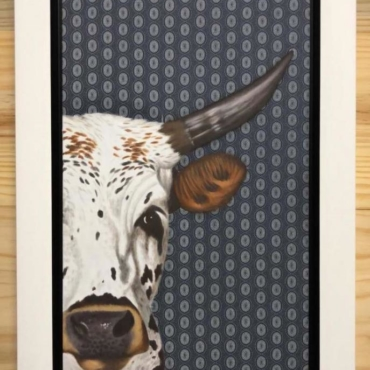 Nguni on Shweshwe 224 Framed